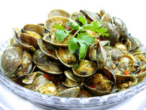Rühren Sie gebratene Manila-Muscheln mit thailändischer gebratener Paprikapaste Stockfotos