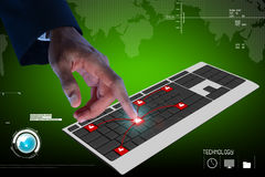 Rührende digitale Tastatur der Geschäftsperson Lizenzfreies Stockfoto