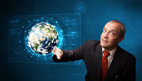 Rührende High-Teche Platte der Erde 3d des Geschäftsmannes Stockbilder