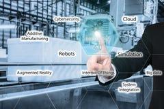 Rührende Industrie 4 des Geschäftsmannes 0 Ikone in der virtuellen Schnittstelle Lizenzfreie Stockbilder