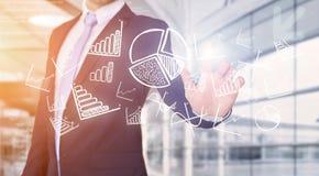 Rührende Technologieschnittstelle des Geschäftsmannes mit Geschäft und fina Lizenzfreie Stockfotografie
