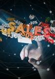 Rührende Verkaufsikonen der Geschäftsfrau mit ihrer Wiedergabe des Fingers 3D Lizenzfreie Stockfotos