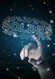 Rührende Verkaufsikonen der Geschäftsfrau mit ihrer Wiedergabe des Fingers 3D Lizenzfreie Stockbilder