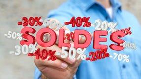 Rührende Verkaufsikonen des Geschäftsmannes mit einer Wiedergabe des Stiftes 3D Stockfoto