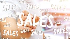Rührende Verkaufsikonen des Geschäftsmannes mit einer Wiedergabe des Stiftes 3D Lizenzfreies Stockbild