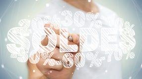 Rührende Verkaufsikonen des Geschäftsmannes mit einer Wiedergabe des Stiftes 3D Lizenzfreie Stockfotografie