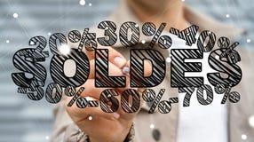 Rührende Verkaufsikonen des Geschäftsmannes mit einer Wiedergabe des Stiftes 3D Lizenzfreie Stockbilder