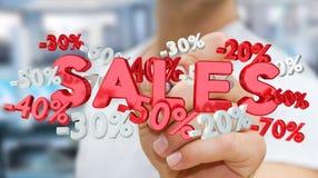 Rührende Verkaufsikonen des Geschäftsmannes mit einer Wiedergabe des Stiftes 3D Lizenzfreie Stockfotos