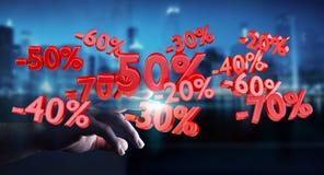 Rührende Verkaufsikonen des Geschäftsmannes mit seiner Wiedergabe des Fingers 3D Lizenzfreies Stockbild