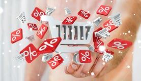 Rührende Verkaufsikonen des Geschäftsmannes mit seiner Wiedergabe des Fingers 3D Stockbilder