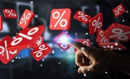 Rührende Verkaufsikonen des Geschäftsmannes mit seiner Wiedergabe des Fingers 3D Stockfoto