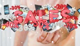 Rührende Verkaufsikonen des Geschäftsmannes mit seiner Wiedergabe des Fingers 3D Lizenzfreies Stockfoto