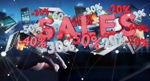Rührende Verkaufsikonen des Geschäftsmannes mit seiner Wiedergabe des Fingers 3D Stockfotos