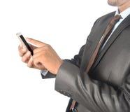Rührender androider Telefonleerer bildschirm des Mannes Berufs- lokalisiert Stockbilder