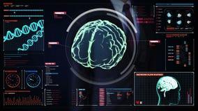 Rührender digitaler Schirm des Geschäftsmannes, Überprüfungsgehirn im Digitalanzeigenarmaturenbrett Röntgenstrahlansicht lizenzfreie abbildung
