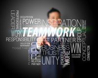Rührender Nametag Teamwork des Geschäftsmannes Lizenzfreie Stockfotografie