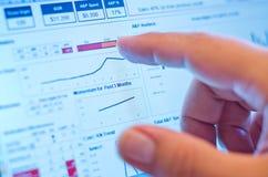 Rührendes Diagramm des Fingers auf Bildschirm stockfotografie
