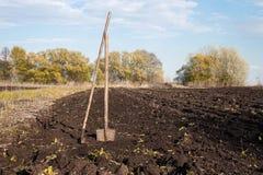 Rührstange und Schaufel auf einem gepflogenen Gebiet und gegrabene Erde im Garten Lizenzfreie Stockfotografie