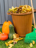 Rührstangen mit Herbstlaub Stockfotos