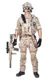 Rüstungs-Griffmaschinengewehr des Soldatmannes volles lizenzfreie stockfotos