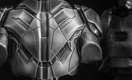 R?stungs-Nahaufnahmeansicht des Kriegers hintere Metall stockfotografie