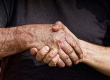 Rütteln der Hände Stockfoto
