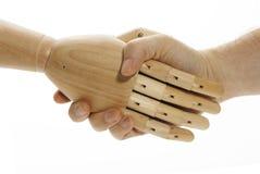 Rütteln der Hände mit der Maschine Lizenzfreie Stockfotografie