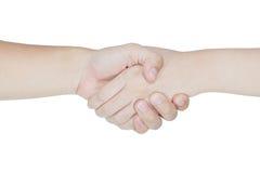 Rütteln der Hände von zwei Leuten Stockbild
