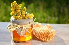 Rütteln Sie voll vom köstlichen neuen Honigstück Bienenwabe und wilden Blumen Stockbild