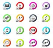 Rütteln und Trainingsüberwachung apps Ikonen eingestellt Lizenzfreie Stockfotos