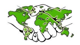 Rütteln von Händen mit internationaler Karte lizenzfreies stockbild