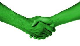 Rütteln von Händen von zwei Leuten, von Mann und von Frau lizenzfreie stockbilder
