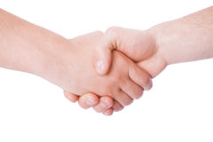 Rütteln von Händen von zwei männlichen Leuten Stockfoto