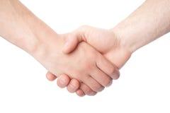 Rütteln von Händen von zwei männlichen Leuten Lizenzfreies Stockbild