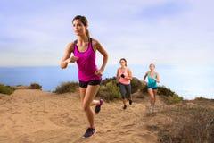 Rüttelndes Laufen der Übungsteameignungsgruppe, Hügelhinterweg in der Natur oben wandernd Stockfotos