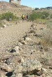 Rüttler, die auf eine Kies-Spur laufen Lizenzfreies Stockfoto