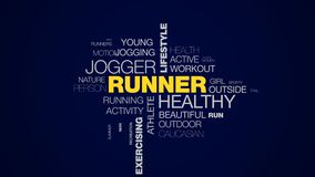 Rüttlerlebensstileignungssport-Marathon Olympics des Läufers verfechten gesunde die Ausübung der athletischen lebhaften Wortwolke stock video