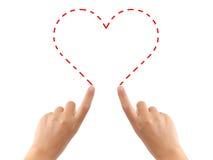 ręce ciągnącego serce Obraz Stock