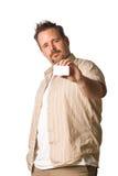 ręce człowieka karty gospodarstwa Zdjęcia Stock
