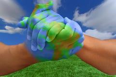 ręce jak płótna planety Fotografia Stock