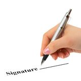 ręce kontraktowego długopis Fotografia Stock