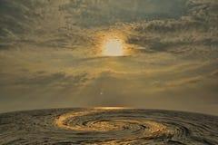ręce na plażę dezerterujący wyspy matki syn morskiego określa burzę Obrazy Stock