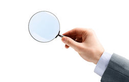 ręce powiększać szklany Fotografia Stock