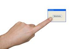 ręce rozwiązań przycisk Obraz Stock