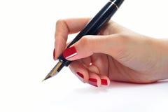 ręce tła przedmiotów white odizolowane długopisy gospodarstwa Obrazy Stock