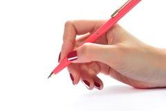 ręce tła przedmiotów white odizolowane długopisy gospodarstwa Fotografia Royalty Free