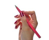 ręce tła przedmiotów white odizolowane długopisy gospodarstwa Fotografia Stock