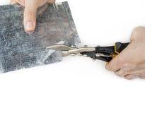 Ręczni przemysłowi nożyce dla ciąć cynę obrazy royalty free