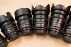 Ręczni wymienni obiektywy dla cyfrowych kamer Wyposażenie dla wideo strzelaniny z cyfrowymi SLR kamerami Fotografia Stock
