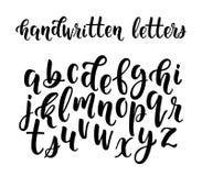 Ręcznie pisany łaciński kaligrafii muśnięcia pismo lowercase listy ilustracja wektor